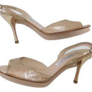JIMMY CHOO Gold lame Slingback Sandals 42 10